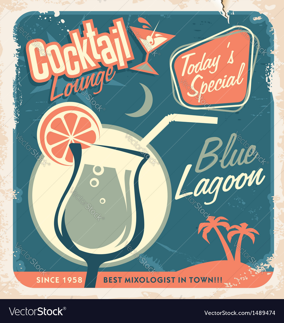 Promotional retro poster design for cocktail bar vector image