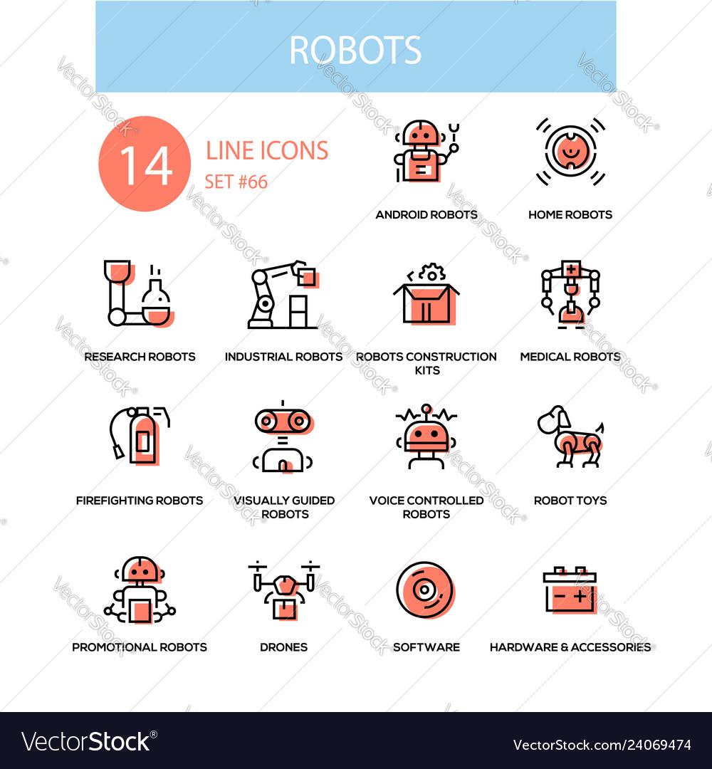 Robots concept - line design style icons set