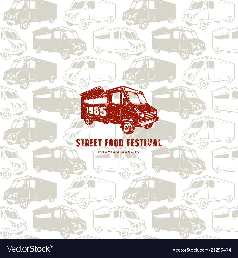 Seamless pattern and emblem for street food