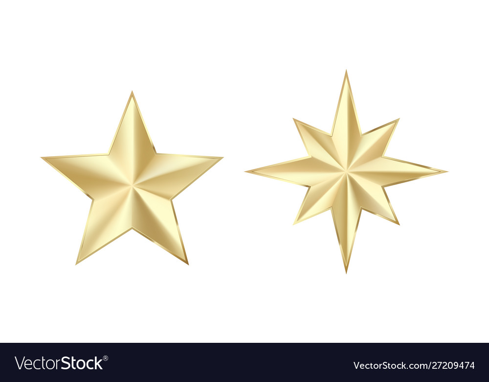 Set golden stars with glitters shiny gold star
