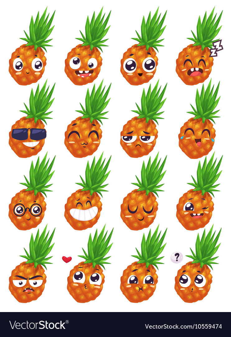 Smiles set of fruit characters cute