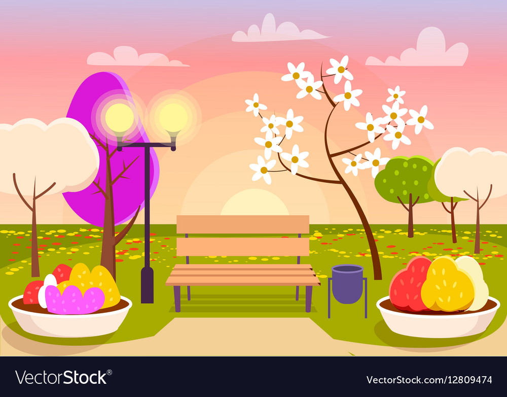 Spring Scenery Urban Park with Bench Flower Beds vector image