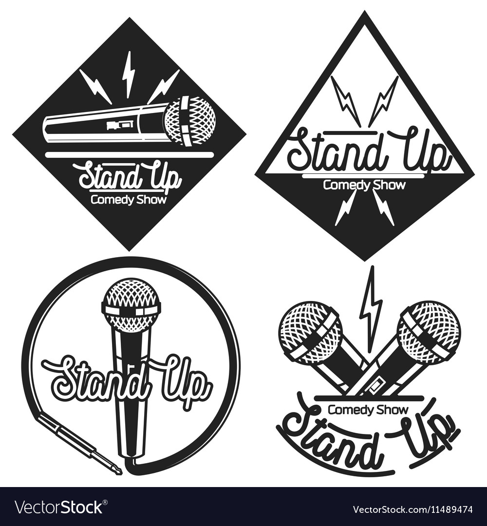 Vintage Stand up comedy show emblems vector image