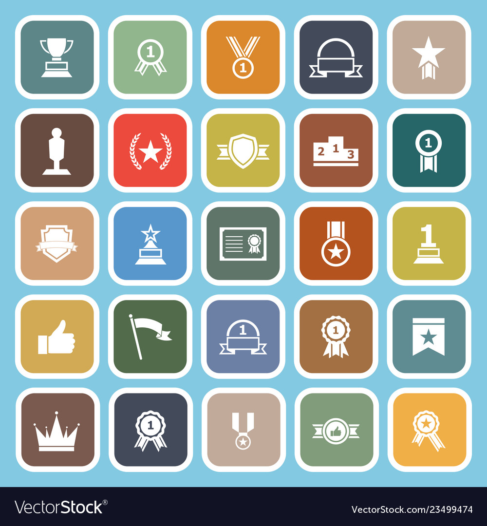 Winner flat icons on blue background