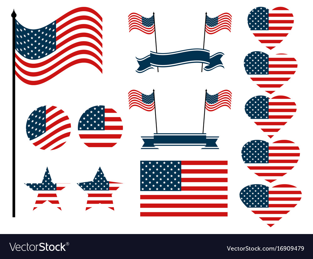 American flag set collection of symbols