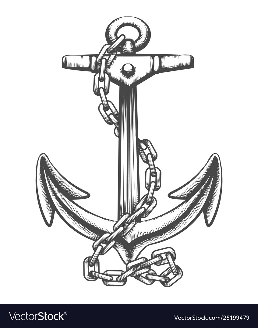 Anchor and chains tattoo in engraving style