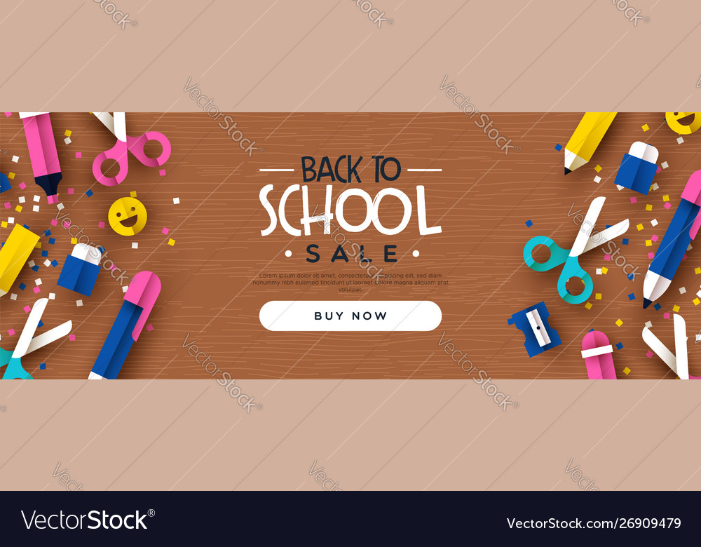 Back to school sale banner papercut class icons