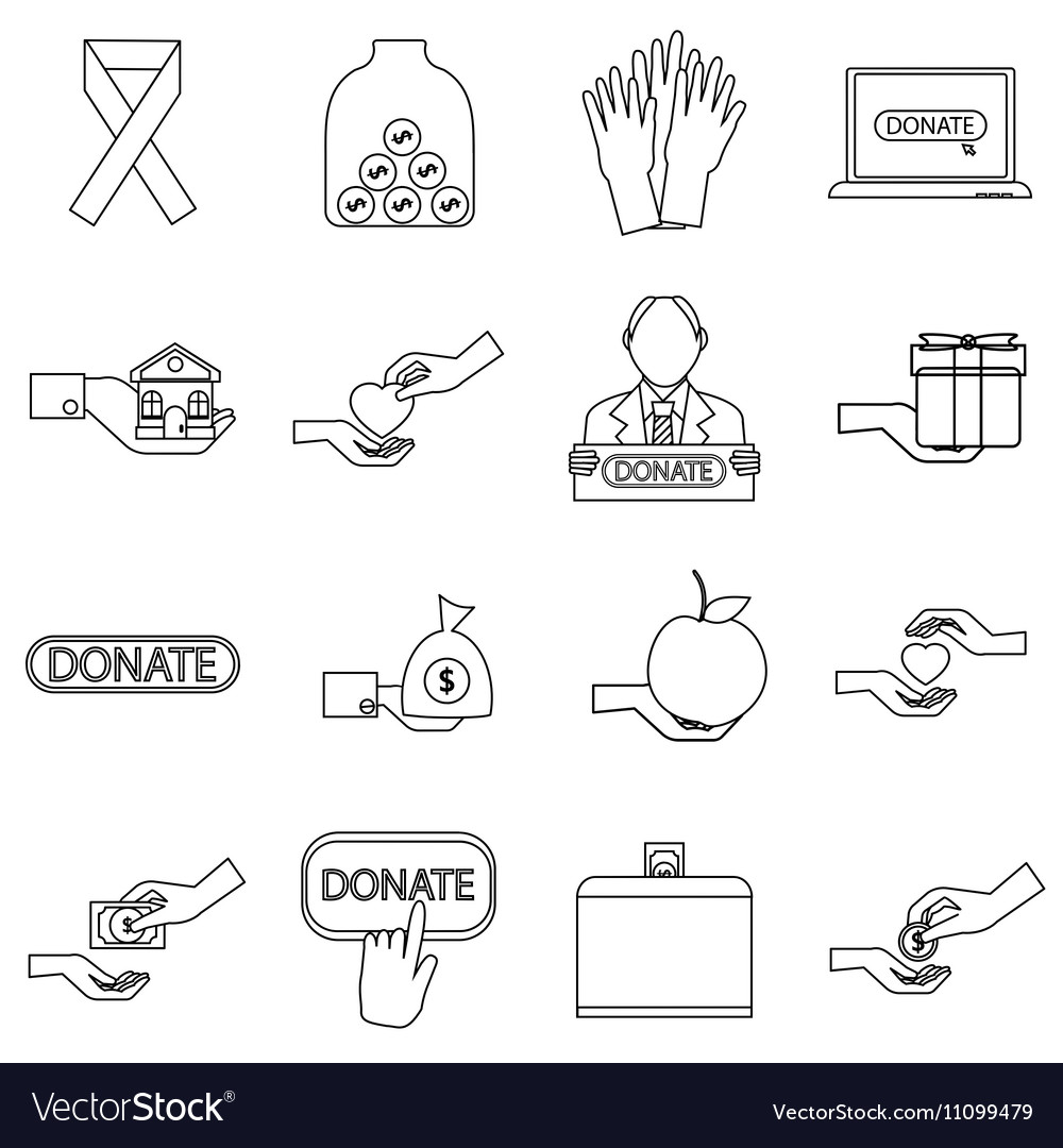 Charity icons set outline style