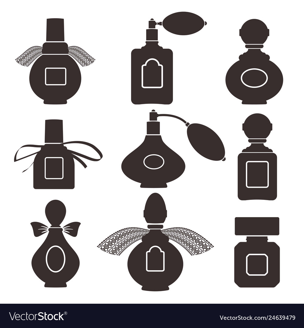 Collection of silhouettes of bottles for perfume