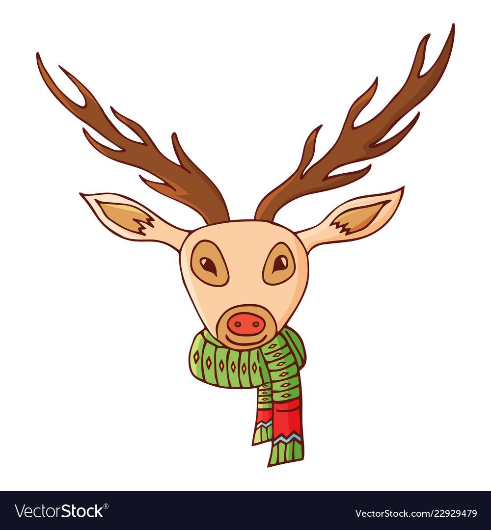 Deer head in a scarf