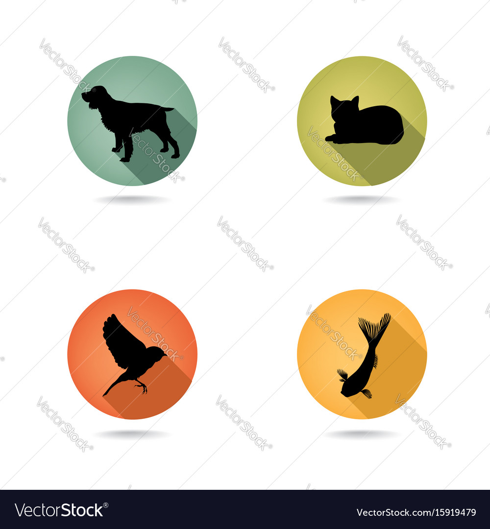 Dog and cat set collection of pets icon silhouette