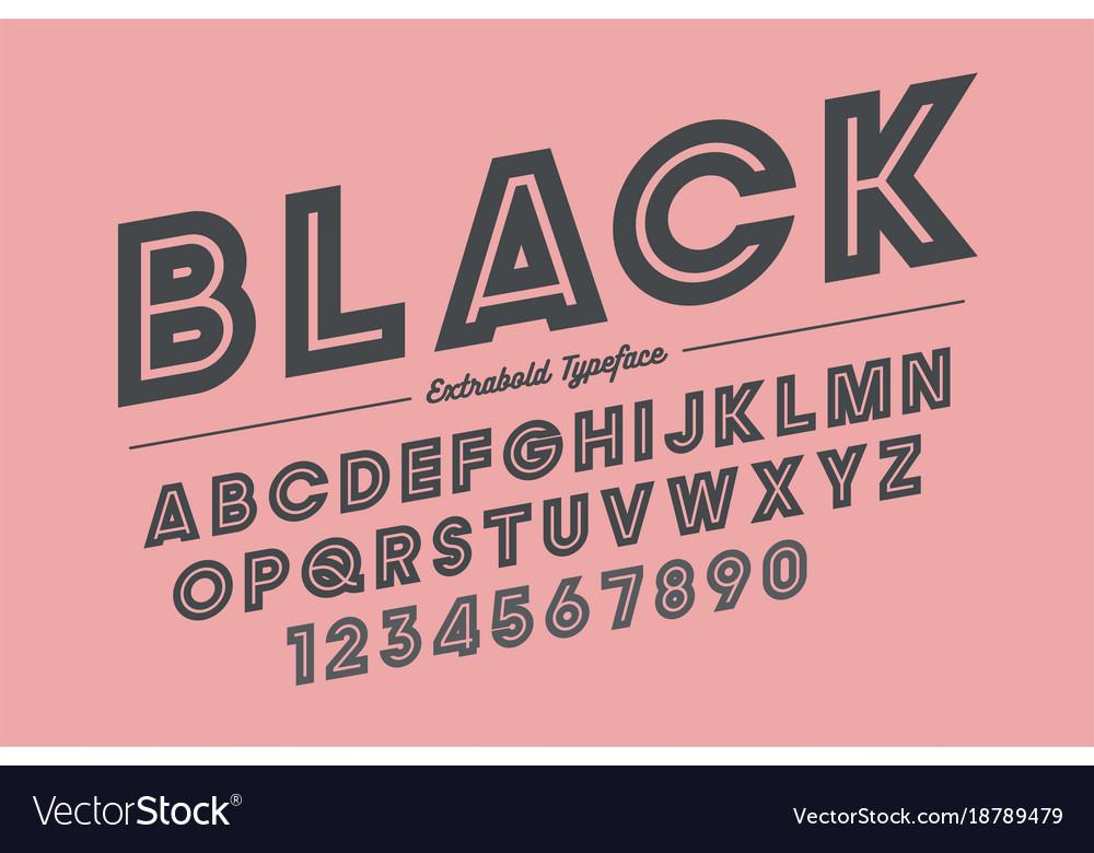 Extra Bold Decorative Font Design Alphabet Vector Image