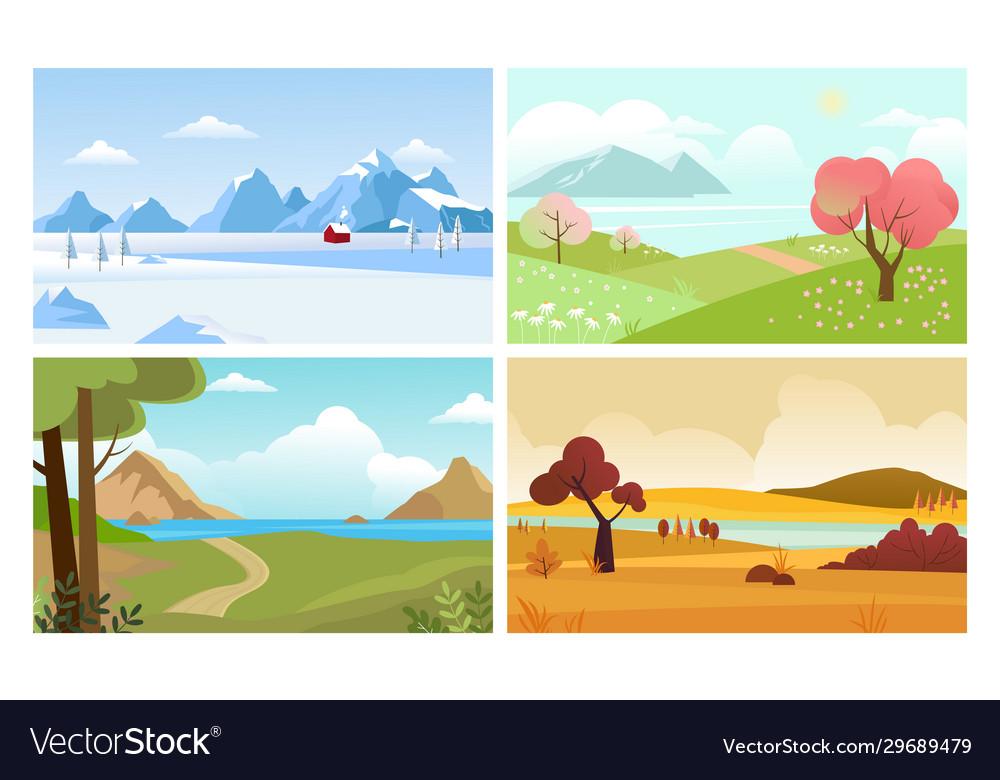 Four seasons backgrounds summer winter autumn