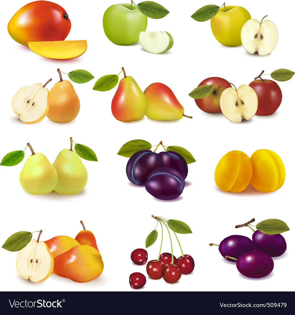 Group with different fruits