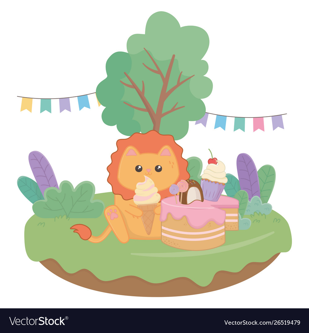 Super Kawaii Lion With Happy Birthday Cake Design Vector Image Funny Birthday Cards Online Overcheapnameinfo