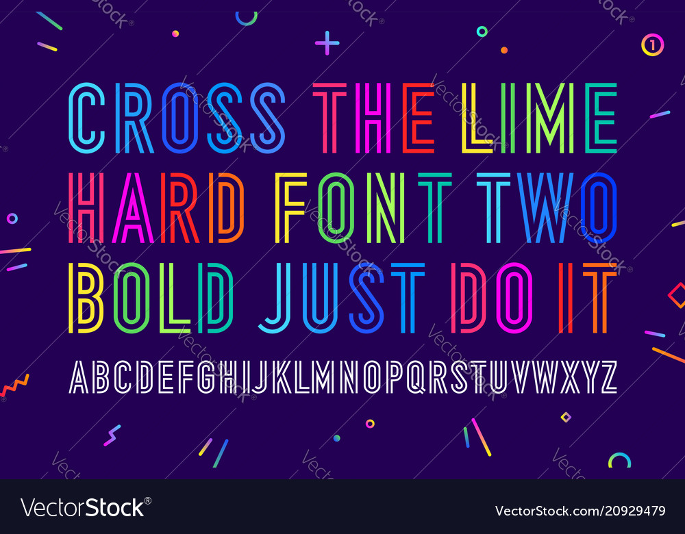 Line condensed alphabet and font vector image