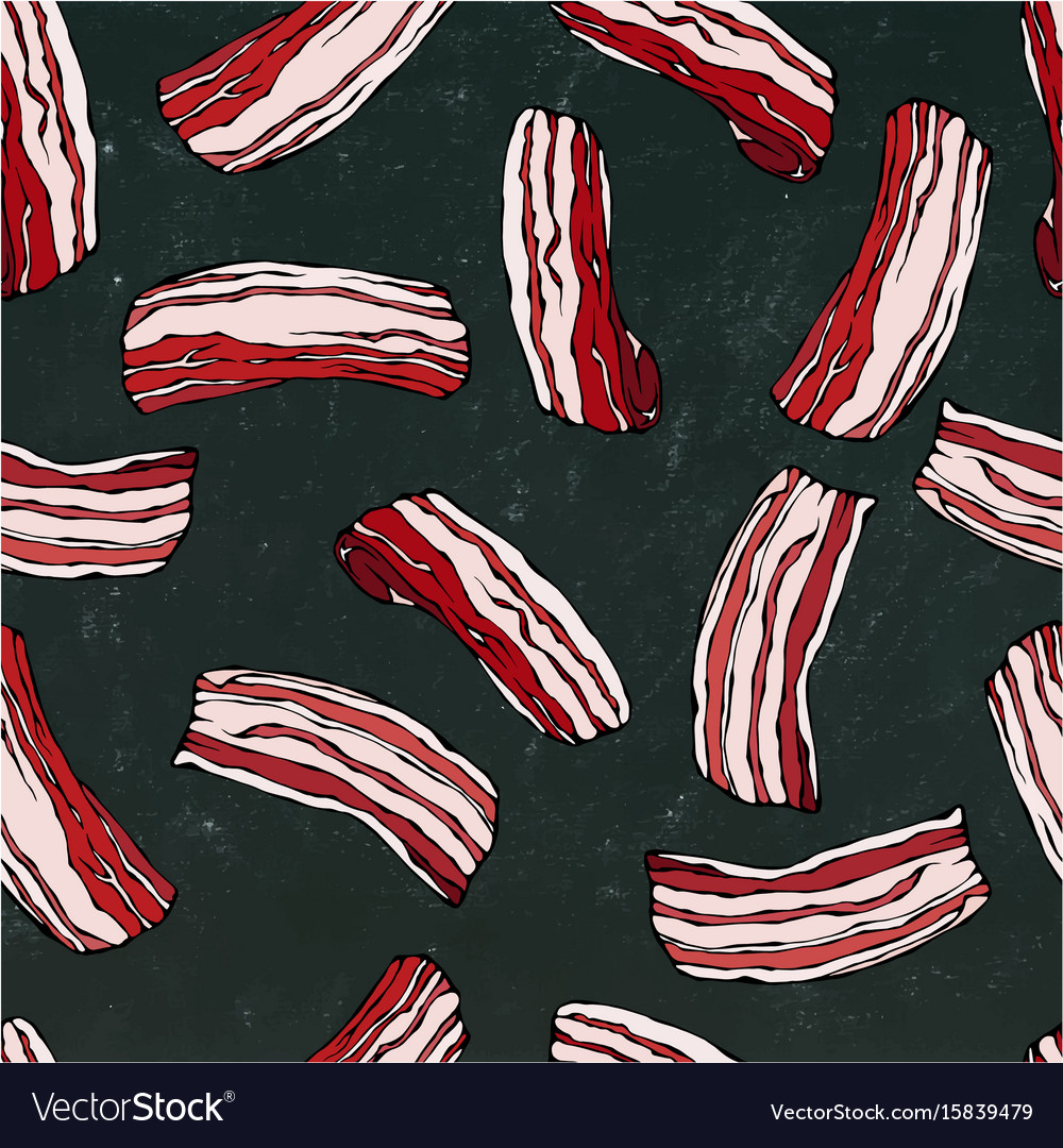 Pork bacon seamless isolated on a black