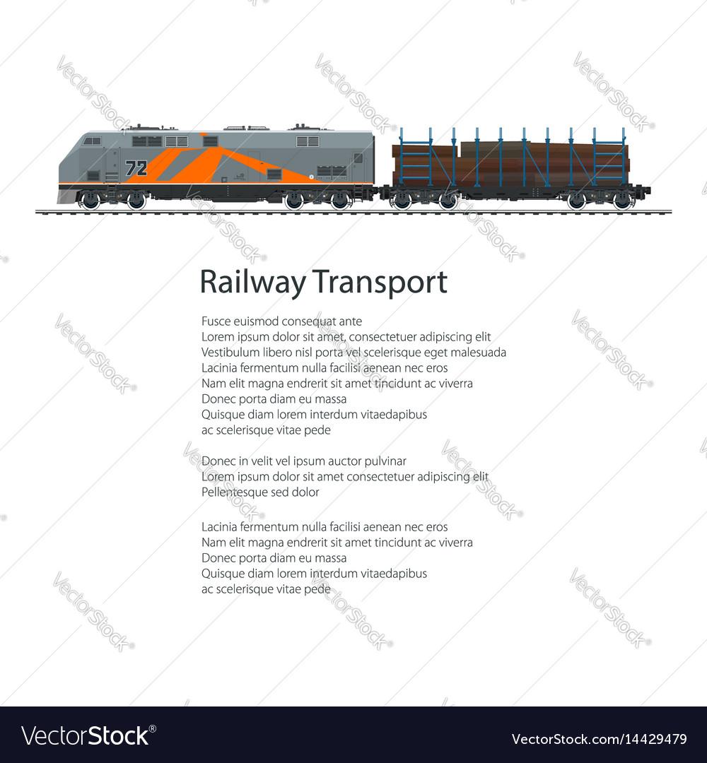 Poster locomotive with railway platform vector image