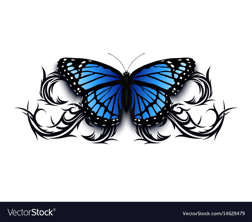 Realistic butterfly icon on top of abstract tribal