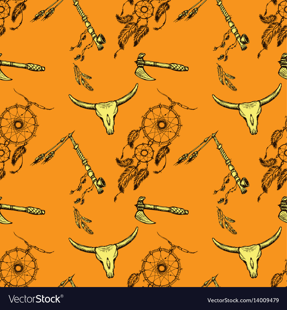 Seamless Pattern Native American Symbols Vector Image