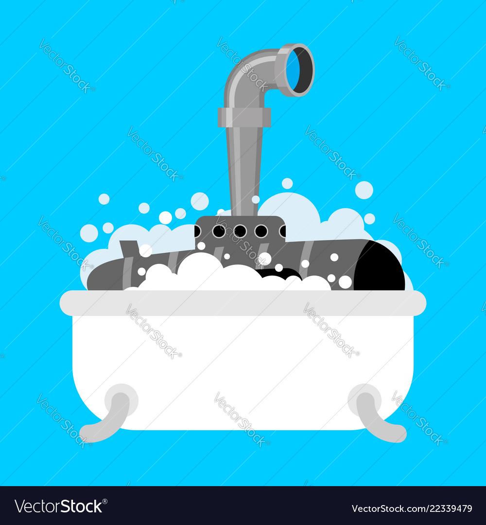 Submarine in bath periscope of foam in bathroom