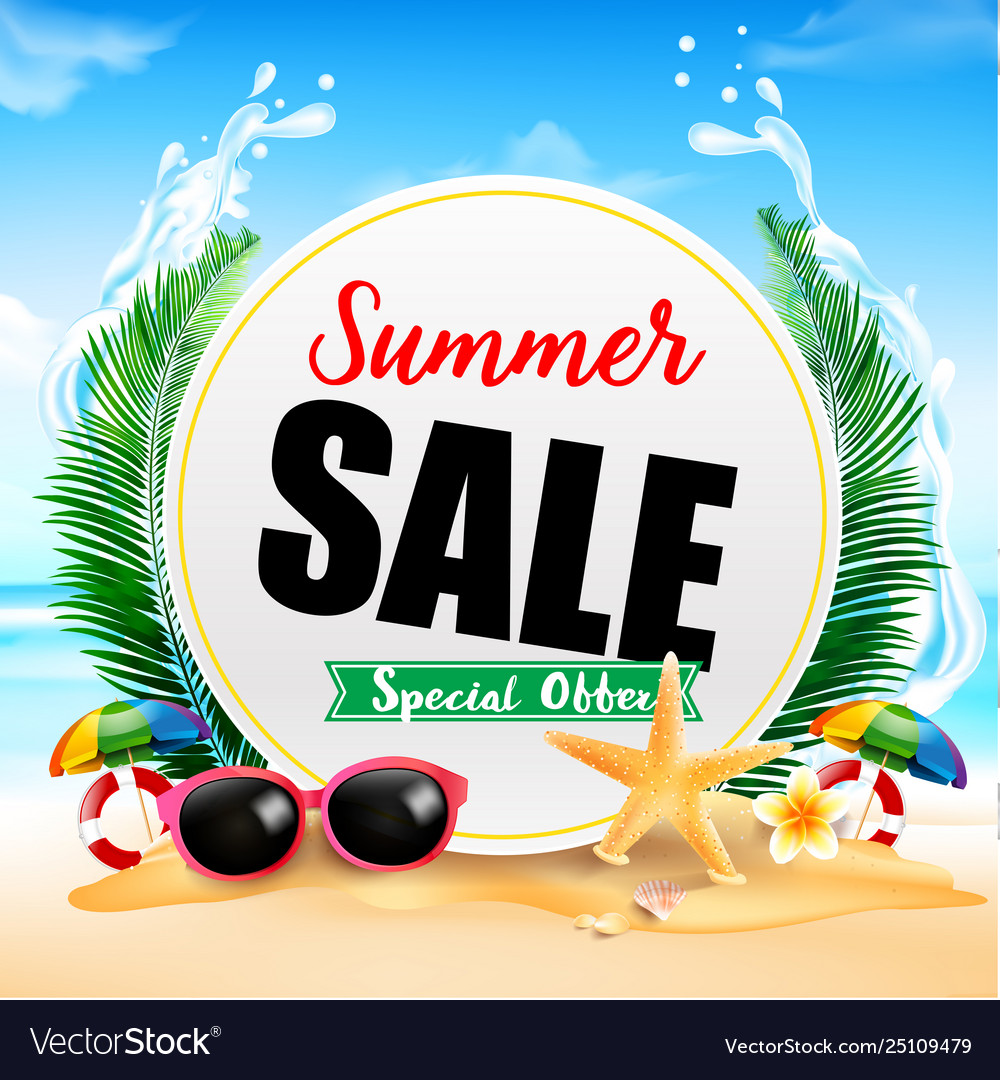 Summer sale on white circle frame 001