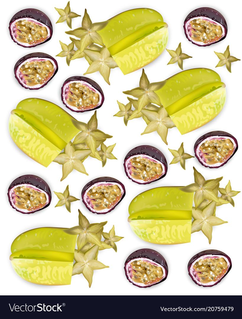 Tropic fruits pattern realistic starfruit