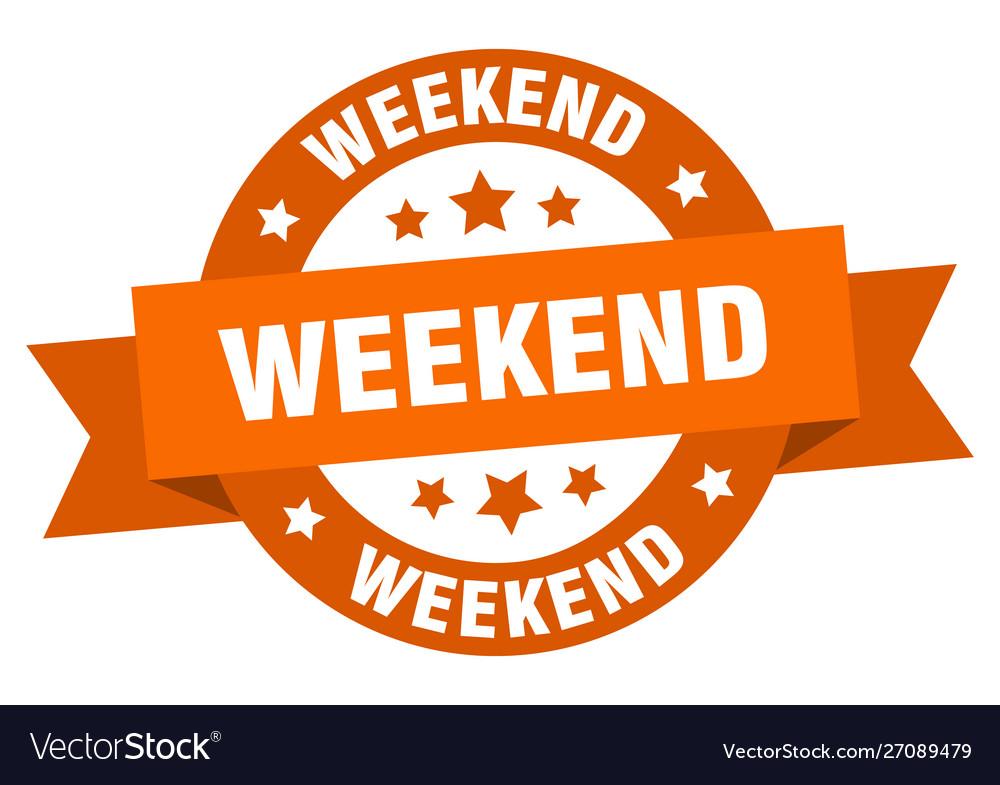 Weekend ribbon weekend round orange sign weekend