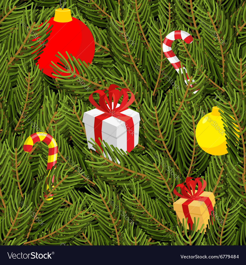 Branch of tree and gifts seamless pattern