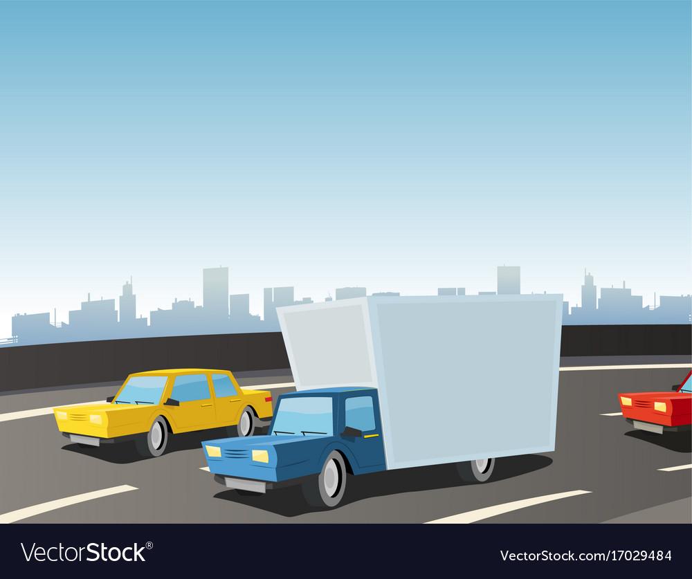 Cartoon truck on highway