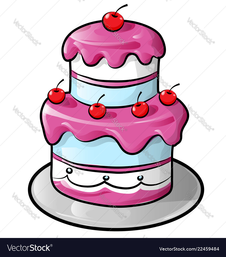 Colorful birthday cake with outline