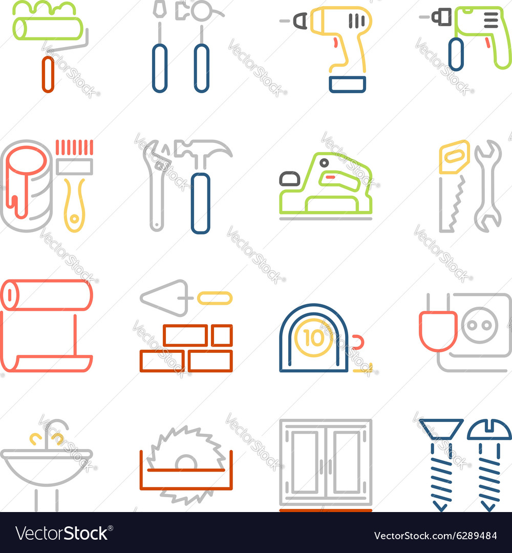 Colorful outline web icons set vector image