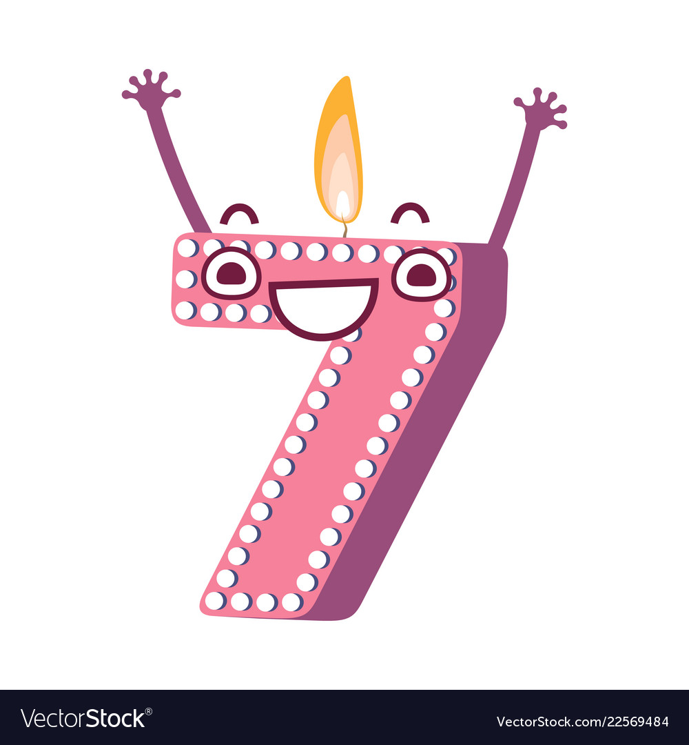 Cute Birthday Candle Number Character Seven Vector Image