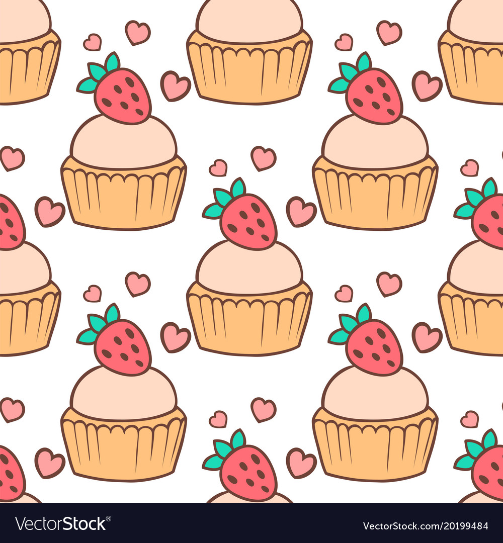 Cute cupcakes and muffins seamless pattern