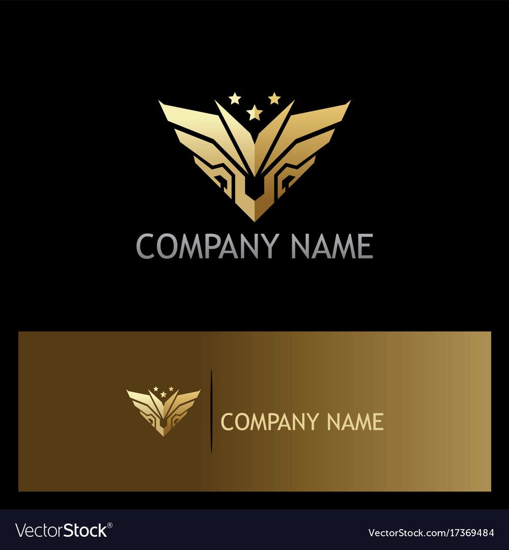 Gold abstract wing emblem star logo