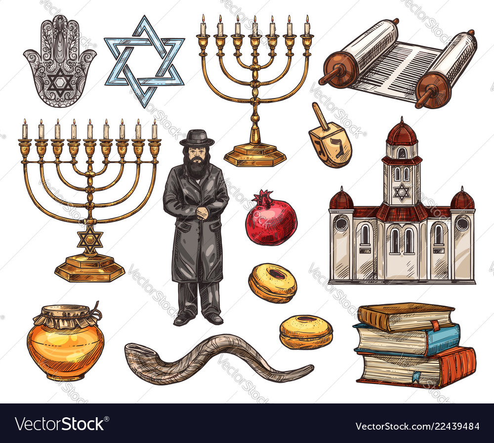 Judaism religion symbols isolated sketch