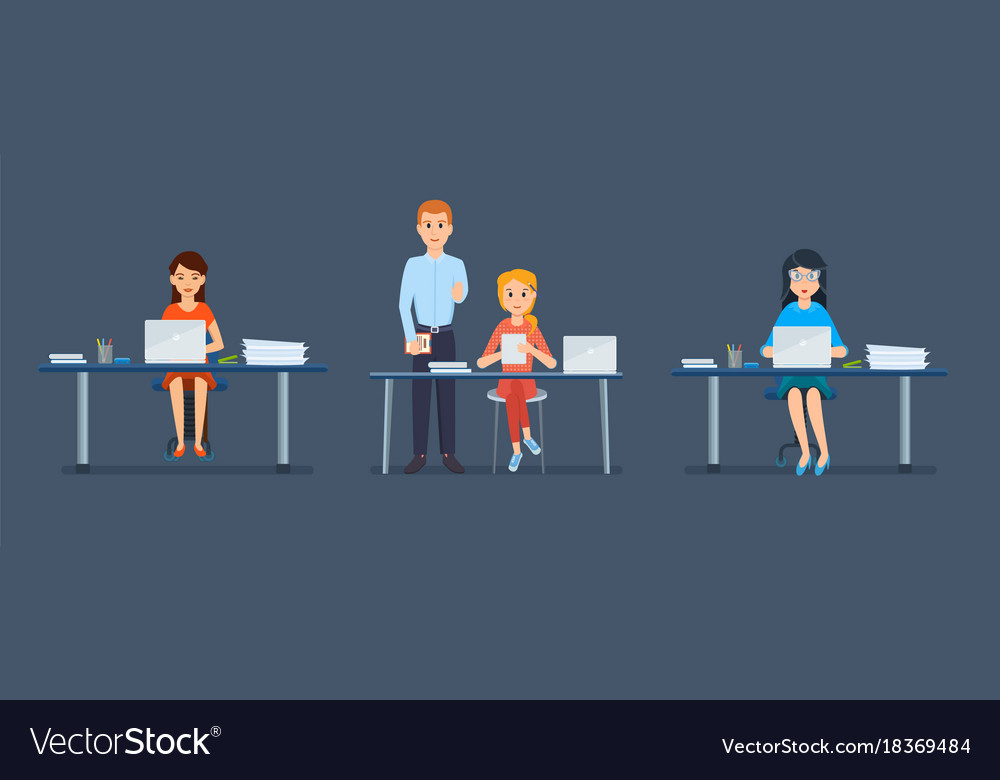 office staff of girl behind workplaces tablets vector image