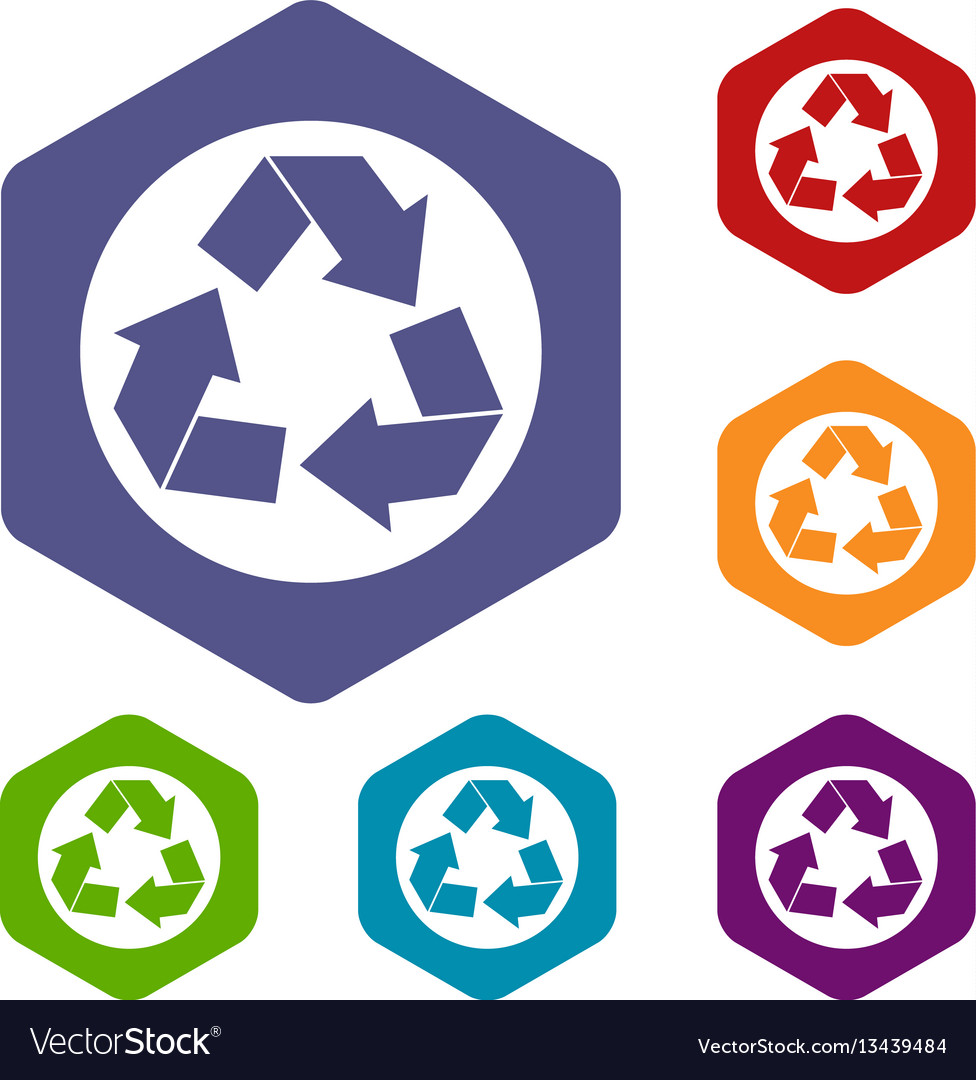 Recycle sign icons set