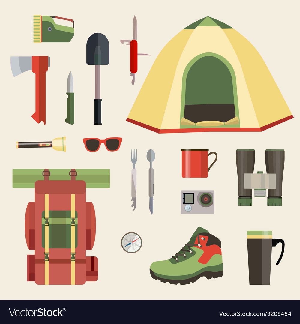 Set of camping equipment symbols icons and tools