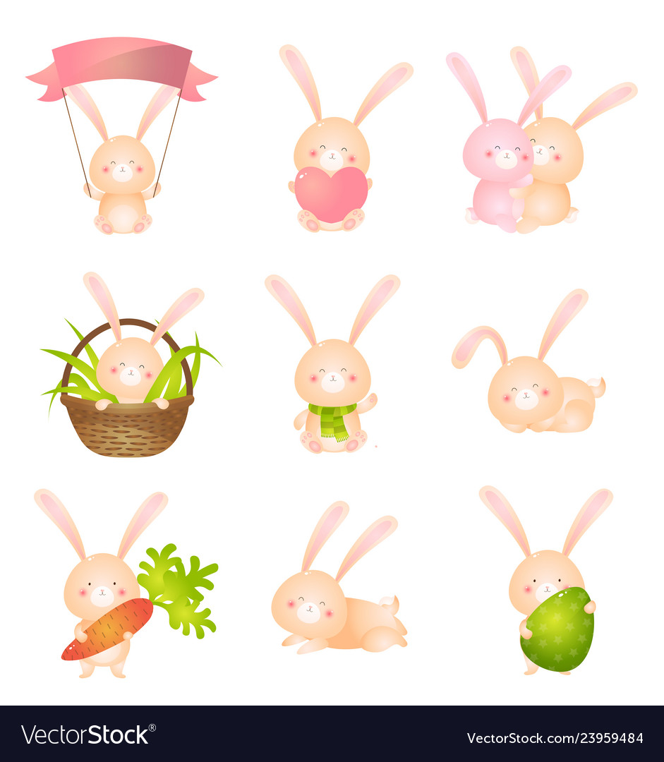 Set of cute rabbits in different poses or holding