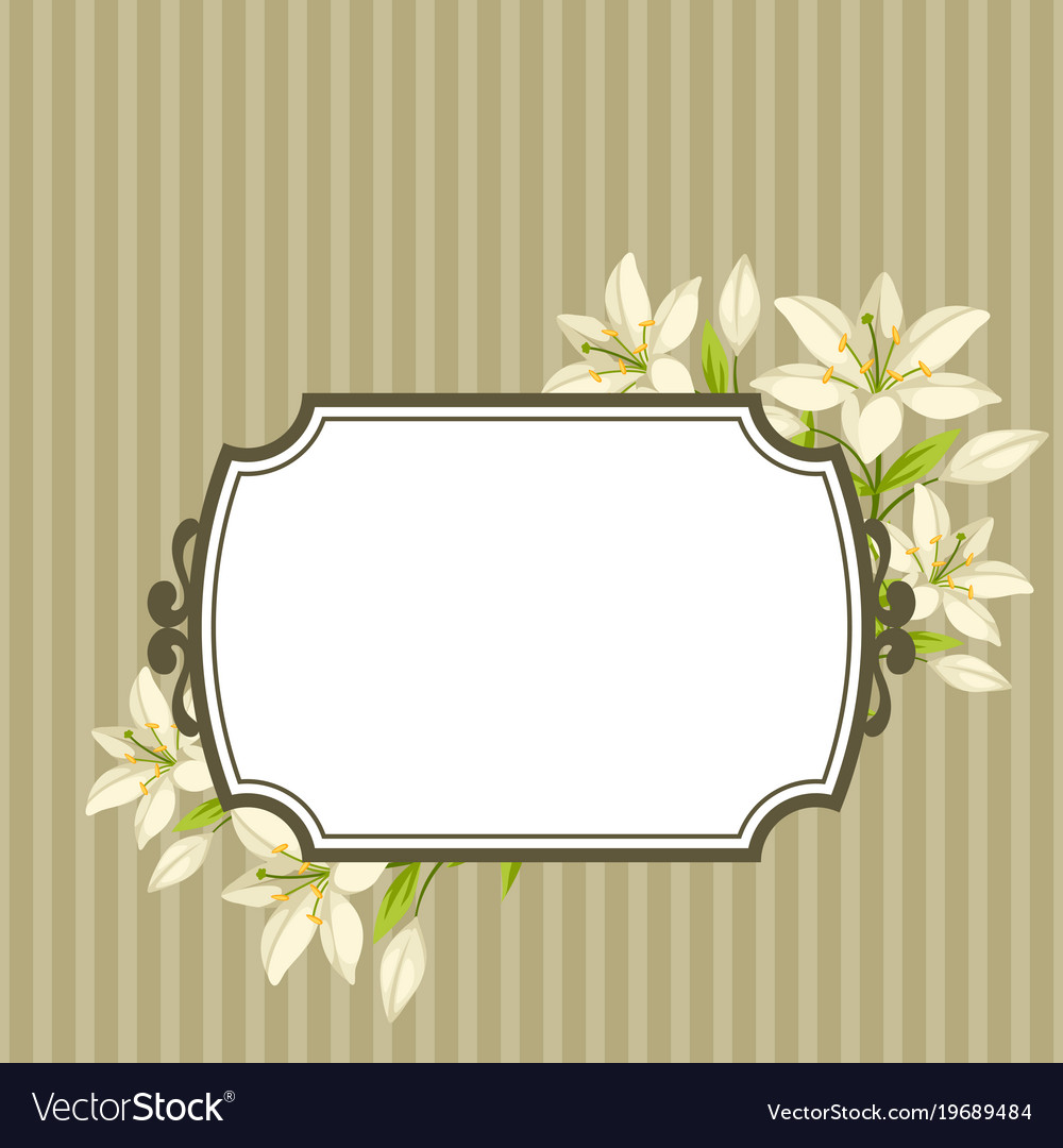 Vintage decorative frame with beautiful lilies