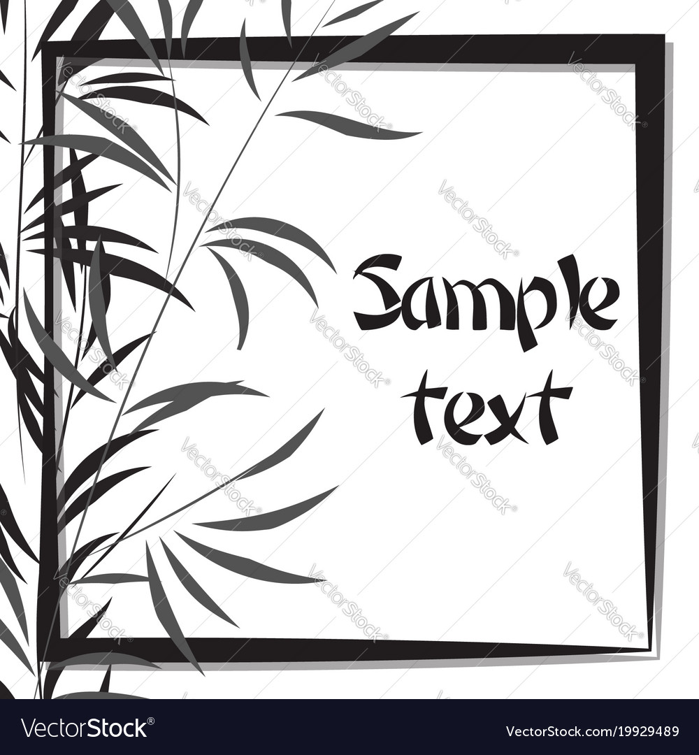 Bamboo background with frame black and white