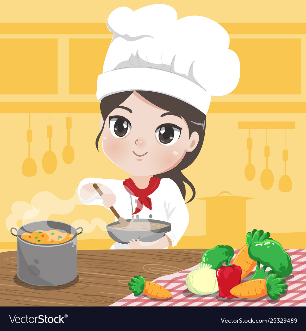Chef girl is cooking Royalty Free Vector Image