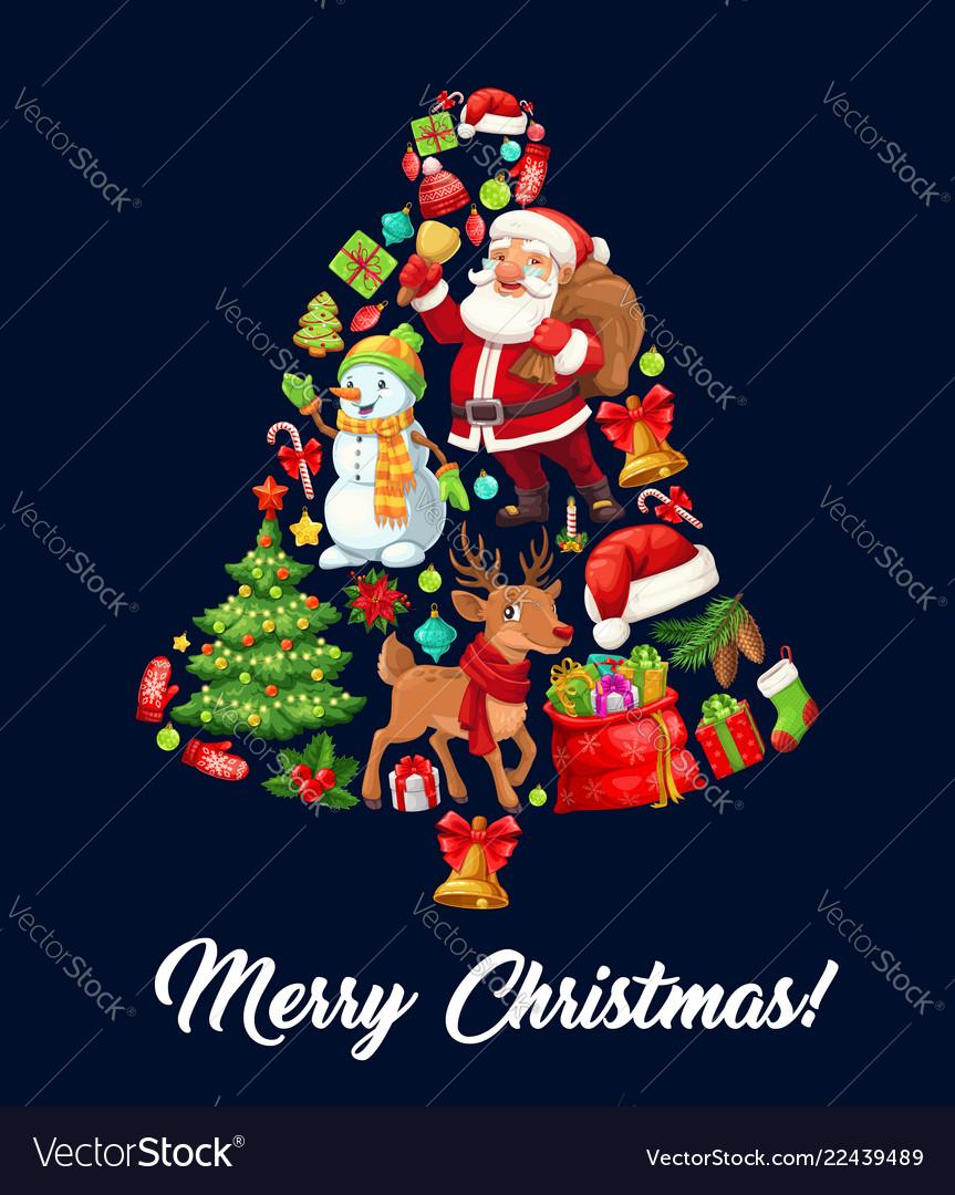 Christmas jingle bell made up of xmas icons