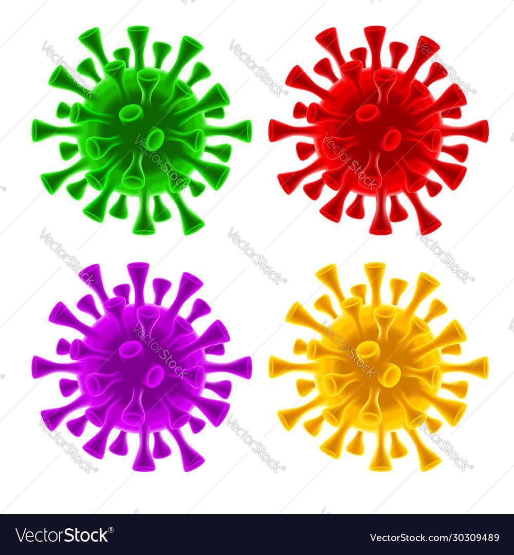 Coronavirus covid19-19 virus cells set