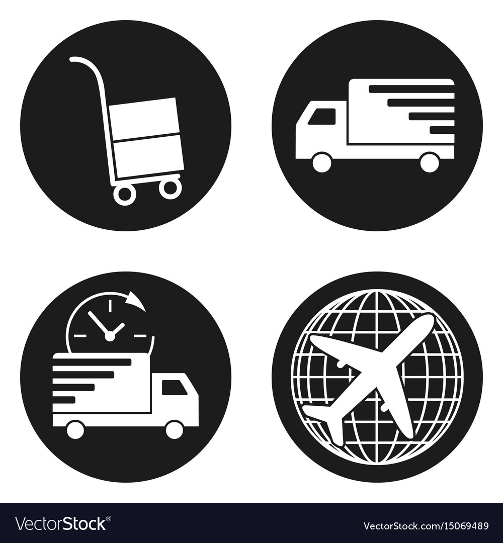 Delivery and logistic icons set in circle button