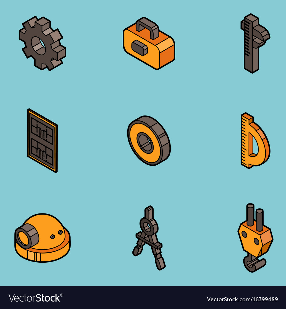 Engineering flat outline icons vector image