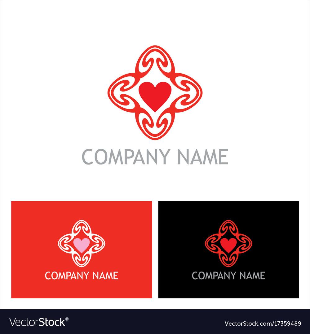 Heart love circle valentine logo