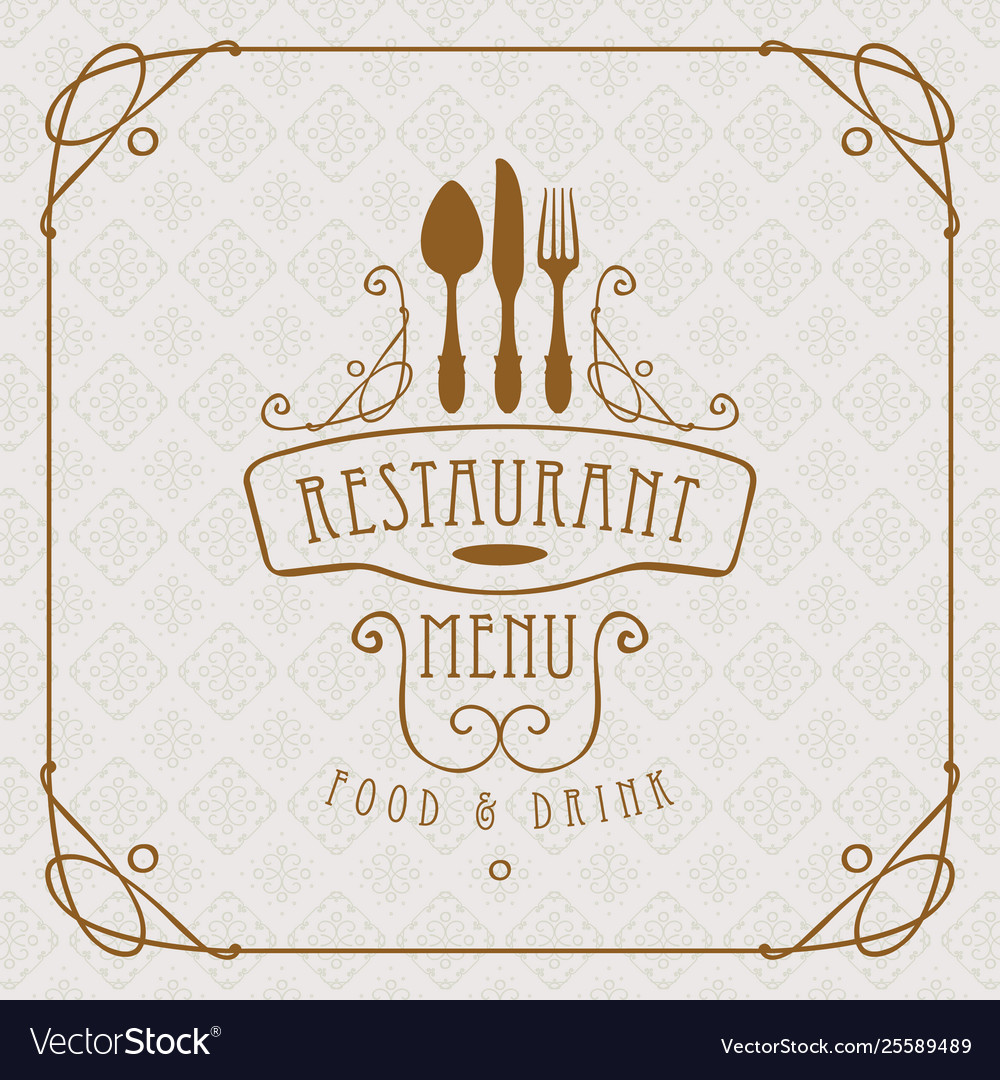 Menu for restaurant with flatware and curlicues