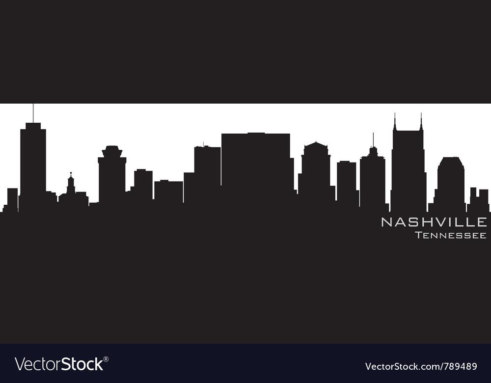 Nashville tennessee skyline detailed silhouette
